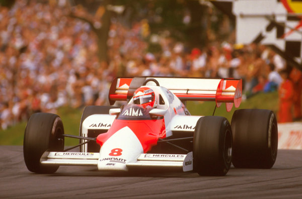 Brands Hatch, England.20-22 July 1984.Niki Lauda (McLaren MP4\2 TAG Porsche) 1st position.Ref-84 GB 09.World Copyright - LAT Photographic