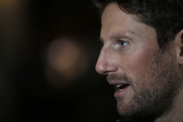 Romain Grosjean, Haas F1 Team speaks with the media