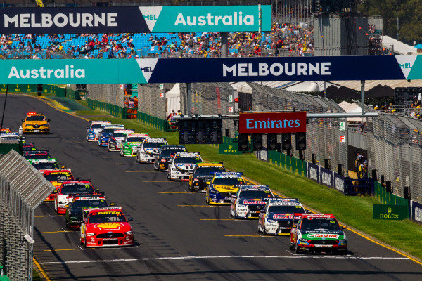 The start of the race. Chaz Mostert, Tickford Racing, Ford, leads Scott McLaughlin, DJR Team Penske, Ford, Jamie Whincup, Triple Eight Racing Engineering, Holden, and Cameron Waters, Tickford Racing, Ford