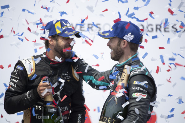 Antonio Felix da Costa (PRT), DS Techeetah, 3rd position, and Sam Bird (GBR), Jaguar Racing, 1st position, on the podium