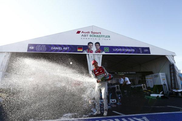 Lucas Di Grassi (BRA), Audi Sport ABT Schaeffler, Audi e-tron FE04. And Daniel Abt (GER), Audi Sport ABT Schaeffler, Audi e-tron FE04. Celebrate with Audi team