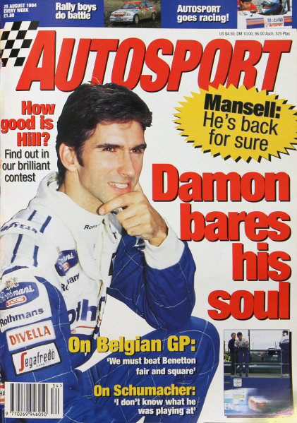 Cover of Autosport magazine, 25th August 1994