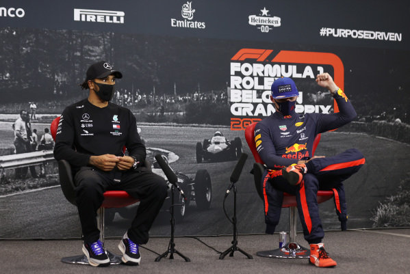 Race Winner Lewis Hamilton, Mercedes-AMG Petronas F1 and Max Verstappen, Red Bull Racing in the press conference