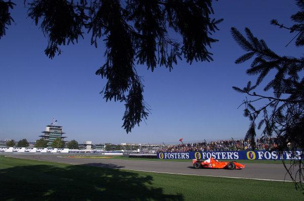 2001 American Grand Prix - QualifyingIndianapolis, United States. 29th September 2001.Michael Schumacher, Ferrari F2001, action.World Copyright: Steve Etherington/LAT Photographicref: 18mb Digital Image