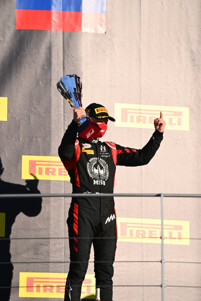 Nikita Mazepin (RUS, HITECH GRAND PRIX), with his trophy on the podium