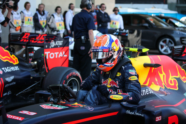 Max Verstappen (NED) Red Bull Racing RB12 in parc ferme at Formula One World Championship, Rd19, Mexican Grand Prix, Qualifying, Circuit Hermanos Rodriguez, Mexico City, Mexico, Saturday 29 October 2016.