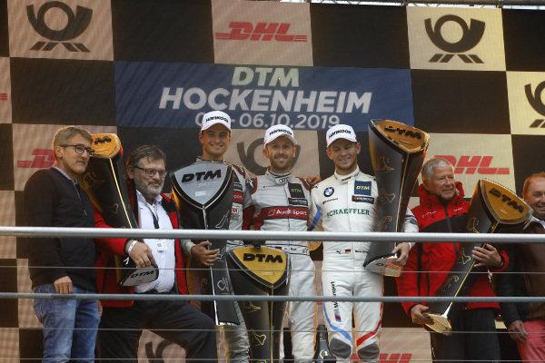 Champion Podium: Champion René Rast, Audi Sport Team Rosberg, second place , Nico Müller, Audi Sport Team Abt Sportsline, third place Marco Wittmann, BMW Team RMG, Manufacturer winner Hans-Joachim Rothenpieler, Member of the board, Audi AG, Arno Zensen, Audi Sport Team Rosberg, Team champion.