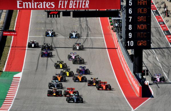 Valtteri Bottas, Mercedes AMG W10 Sebastian Vettel, Ferrari SF90 Max Verstappen, Red Bull Racing RB15 Lewis Hamilton, Mercedes AMG F1 W10 and Charles Leclerc, Ferrari SF90