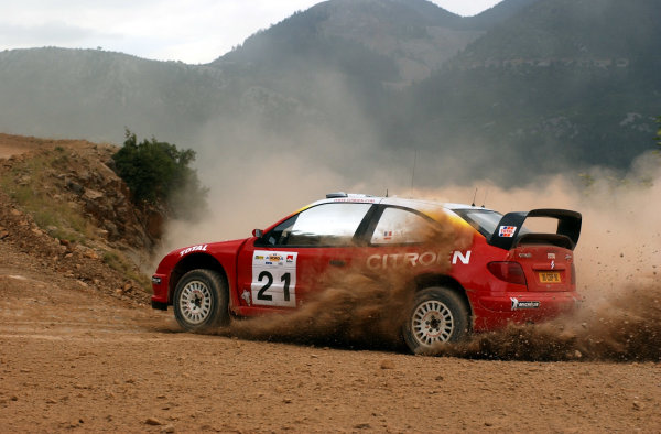 World Rally Championship, Acropolis Rally, June 13-16, 2002.Sebastien Loeb during shakedown.Photo: Ralph Hardwick/LAT