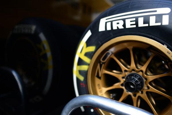 Pirelli tyre and OZ wheel. Formula One World Championship, Rd9, German Grand Prix, Practice, Nurburgring, Germany, Friday 5 July 2013.