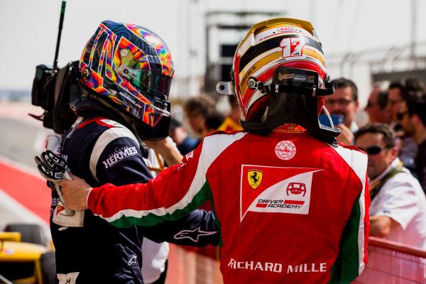 2017 FIA Formula 2 Round 1. Bahrain International Circuit, Sakhir, Bahrain.  Saturday 15 April 2017. Artem Markelov (RUS, RUSSIAN TIME), Charles Leclerc (MCO, PREMA Racing)  Photo: Zak Mauger/FIA Formula 2. ref: Digital Image _X0W4514