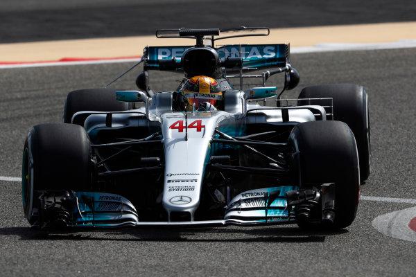 Bahrain International Circuit, Sakhir, Bahrain.  Tuesday 18 April 2017. Lewis Hamilton, Mercedes F1 W08 EQ Power+. World Copyright: Glenn Dunbar/LAT Images ref: Digital Image _X4I2055