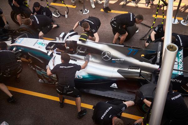 Monte Carlo, Monaco. Wednesday 24 May 2017. Mercedes engineers work on the car of Valtteri Bottas, Mercedes F1 W08 EQ Power+. World Copyright: Steve Etherington/LAT Images ref: Digital Image SNE11061
