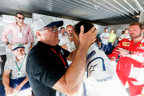 Interlagos, Sao Paulo, Brazil. Sunday 12 November 2017. Felipe Massa, Williams Martini Racing, is embraced by his father after his final home grand prix. World Copyright: Glenn Dunbar/LAT Images  ref: Digital Image _X4I4025