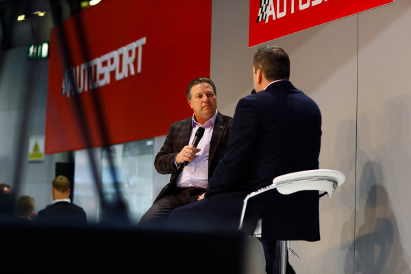 Autosport International Exhibition. National Exhibition Centre, Birmingham, UK. Thursday 11th January 2017. Zak Browb, is interviewed by Henry Hope-Frost, on the Autosport Stage.World Copyright: Ashleigh Hartwell/LAT Images Ref: _R3I6600