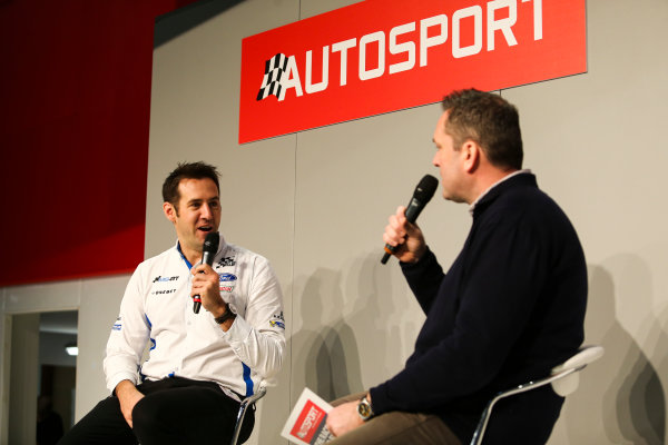 Autosport International Exhibition. National Exhibition Centre, Birmingham, UK. Saturday 13th January 2018. Richard Millener from M-Sport talks to Henry Hope-Frost on the Autosport Stage. World Copyright: James Roberts/JEP/LAT Images Ref: JR3_5291