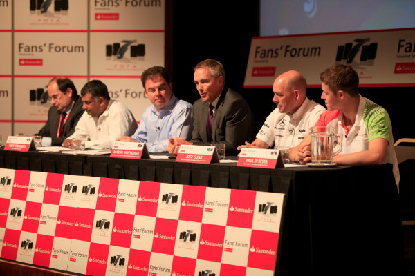 British Academy of Film and Television Arts, London, UK1st July 2010The panel featured Martin Whitmarsh, FOTA chairman and team principal of Vodafone McLaren Mercedes, Tony Fernandes, team principal of Lotus Racing, Jock Clear, Senior Race Engineer, Mercedes GP Petronas F1 Team, Luca Colajanni, Head of Motorsport Press Office, Scuderia Ferrari Marlboro and Paul di Resta, Force India test and reserve driver with James Allen as compere.World Copyright: Andrew Ferraro/LAT Photographicref: Digital Image _MG_9077