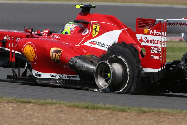 Felipe Massa (BRA) Ferrari F138 suffers a blow out. Formula One World Championship, Rd8, British Grand Prix, Race Day, Silverstone, England, Sunday 30 June 2013.   BEST IMAGE