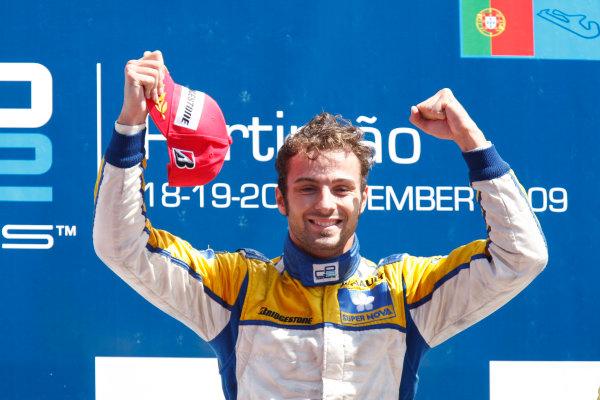 Sunday Race.Luca Filippi (ITA, Super Nova Racing) celebrates his victory on the podium. World Copyright: Glenn Dunbar / GP2 Series Media Service.Ref: _3GD3252 jpg