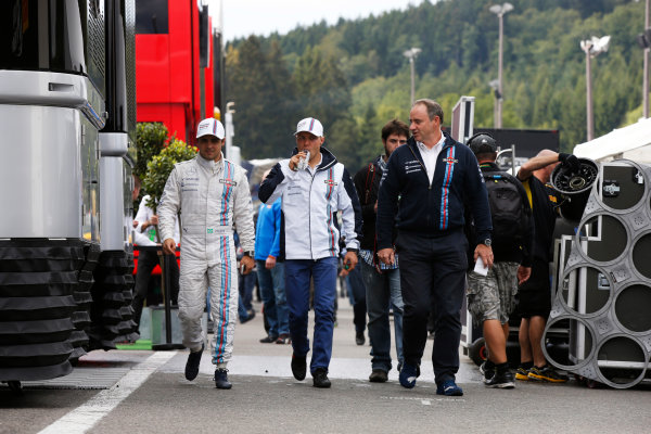 Spa-Francorchamps, Spa, Belgium. Friday 22 August 2014. Felipe Massa, Williams F1, and Valtteri Bottas, Williams F1. World Copyright: Charles Coates/LAT Photographic. ref: Digital Image _J5R9155
