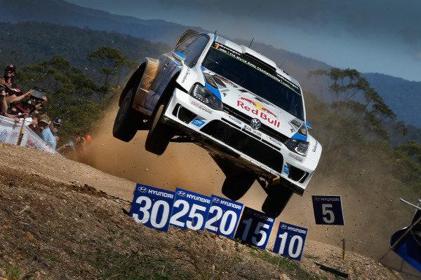 Sebastien Ogier (FRA) / Julien Ingrassia (FRA) Volkswagen Polo R WRC. FIA World Rally Championship, Rd10, Coates Hire Rally Australia, Day Three, Coffs Harbour, New South Wales, Australia, 14 September 2014.