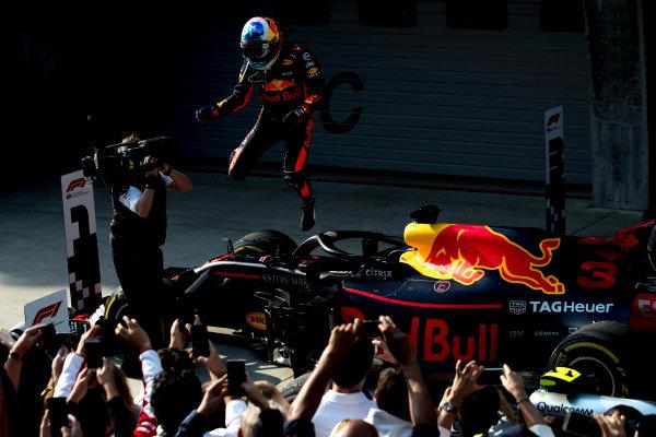 Daniel Ricciardo, Red Bull Racing, 1st position, celebrates on arrival in Parc Ferme.