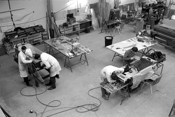 Mechanics building new F1 cars  at the March factory , Bicester, Oxfordshire in 1970