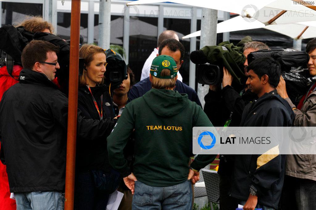 Albert Park, Melbourne, Australia 25th March 2011. Heikki Kovalainen, Lotus T128 Renault, is interviewed. Portrait. Media.  World Copyright: Steven Tee/LAT Photographic ref: Digital Image _A8C2188