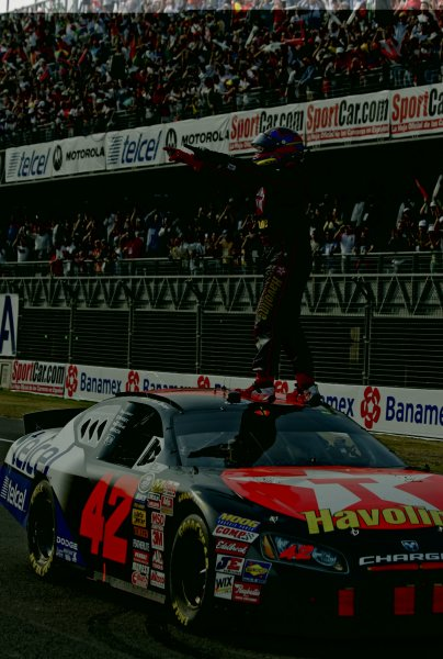 2-4 March 2007, Autodromo Hermanos Rodriguez, Mexico City, DF. Juan Montoya celebrates his first NASCAR Busch Series win. ©2007, Phillip Abbott, USA LAT Photographic