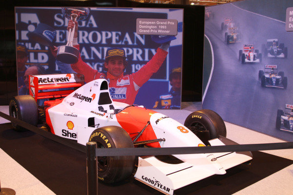 NEC, Birmingham. 12th - 15th January 2012. Ayrton Senna tribute. 1993 McLaren with pictures from Senna's Donington European Grand Prix win. World Copyright: Kevin Wood/LAT Photographic ref: Digital Image IMG_9564a