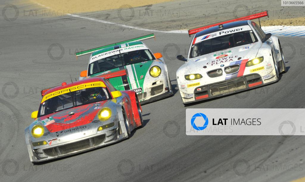 16-18 September, 2011, Monterey, California USA#32 GMG Racing  Porsche 911 GT3 Cup with #55 BMW and #54 Porsche.(c)2011,  Dan R. Boyd  LAT Photo USA
