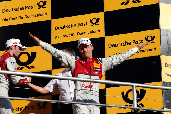 2017 DTM Round 9  Hockenheimring, Germany  Sunday 15 October 2017. Champions Podium: second place Mattias Ekström, Audi Sport Team Abt Sportsline, Audi A5 DTM  World Copyright: Alexander Trienitz/LAT Images ref: Digital Image 2017-DTM-HH2-AT2-2129