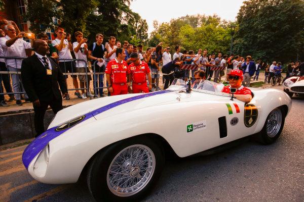 Autodromo Nazionale di Monza, Italy. Thursday 31 August 2017. Kimi Raikkonen, Ferrari, at the parade in Milan. World Copyright: Andy Hone/LAT Images  ref: Digital Image _ONY5075