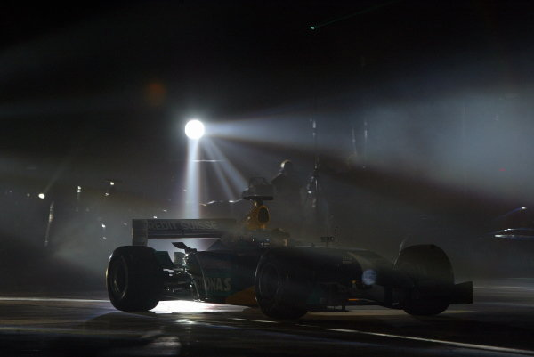 The new Sauber C22 is paraded on an ice rink.