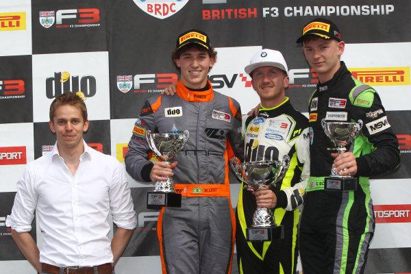 2016 BRDC F3 Championship, Snetterton, Norfolk. 6th - 7th August 2016. Race 1 Podium (l-r) Alex Brundle (GBR), Matheus Leist (BRA) Double R Racing BRDC F3, Ricky Collard (GBR) Carlin BRDC F3, Enzo Bortoleto (BRA) Double R Racing BRDC F3. World Copyright: Ebrey / LAT Photographic.