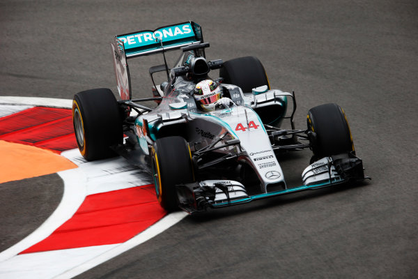 Sochi Autodrom, Sochi, Russia. Friday 09 October 2015. Lewis Hamilton, Mercedes F1 W06 Hybrid. World Copyright: Steven Tee/LAT Photographic. ref: Digital Image _L4R3555
