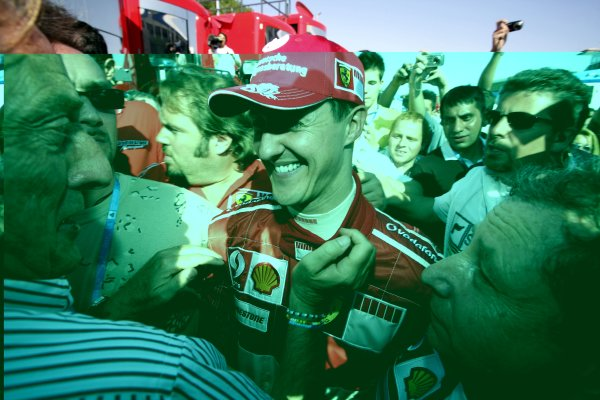 2006 San Marino Grand Prix - Sunday Race Imola, Italy. 20th - 23rd April 2006 Michael Schumacher, Ferrari 248F1, 1st position, in parc ferme with Luca di Montezemolo, portrait, celebration. World Copyright: Charles Coates/LAT Photographic ref: Digital Image ZK5Y0525