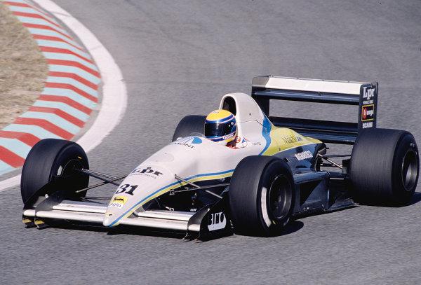 1989 Portuguese Grand Prix.Estoril, Portugal.22-24 September 1989.Roberto Moreno (Coloni FC189).Ref-89 POR 25.World Copyright - LAT Photographic