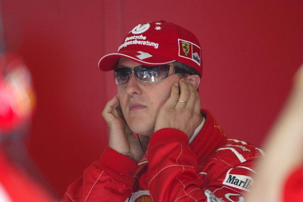 2003 San Marino Grand Prix - Friday 1st QualifyingImola, Italy. 18th April 2003Michael Schumacher, Ferrari F2002, portrait.World Copyright: Steve Etherington/LAT Photographic ref: Digital Image Only