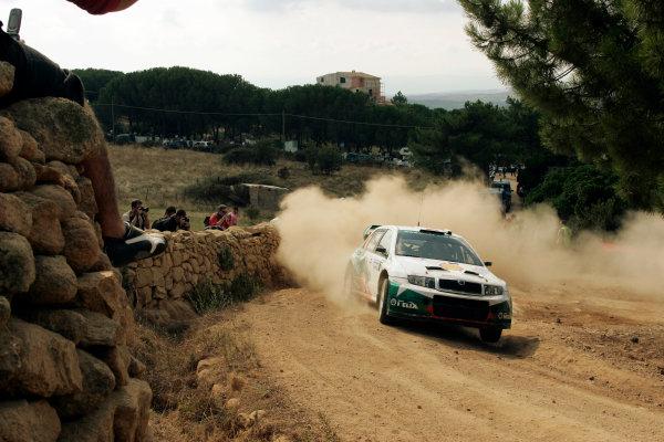 2004 FIA World Rally Champs. Round thirteen, Rally Italia Sardinia.30th September - 3rd October 2004.Armin Schwarz, Skoda, actionWorld Copyright: McKlein/LAT