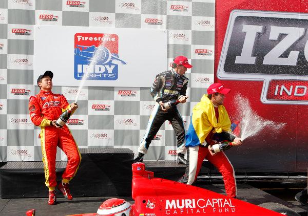 20-21 July, 2012, Edmonton, Alberta CACarlos Munoz, Sebastian Saavedra and Esteban Guerrieri celebrate with champagne on the podium.(c)2012, Phillip AbbottLAT Photo USA