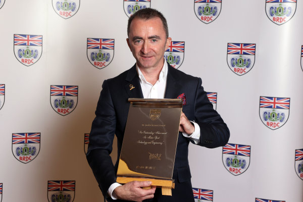 2014 BRDC Annual Awards The Grand Connaught Rooms, London, UK Monday 8 December 2014. Paddy Lowe with his Jackie Stewart award. World Copyright: Ebrey/LAT Photographic. ref: Digital Image Lowe--01