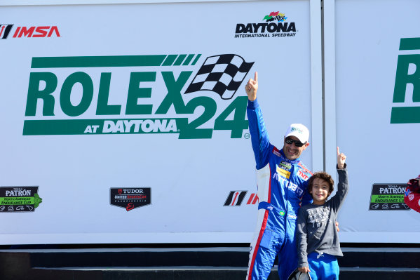 22-25 January, 2015, Daytona Beach, Florida USA 02, Ford EcoBoost, Riley DP,  Tony Kanaan, and son on podium. ©2015, Richard Dole LAT Photo USA