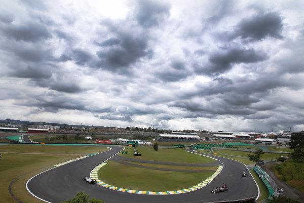 Interlagos, Sao Paulo, Brazil. Saturday 8 November 2014. Felipe Massa, Williams FW36 Mercedes, leads Adrian Sutil, Sauber C33 Ferrari. World Copyright: Steven Tee/LAT Photographic. ref: Digital Image _X0W7187