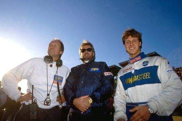 (L-R) Willi Weber (GER), Michael Schumacher (GER)  Euro Macau Japan Cup, Fuji Speedway, Japan. 2nd December 1990