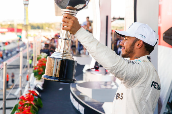 Suzuka Circuit, Japan. Sunday 8 October 2017. Lewis Hamilton, Mercedes AMG, 1st Position, with his trophy. World Copyright: Joe Portlock/LAT Images  ref: Digital Image _L5R0433