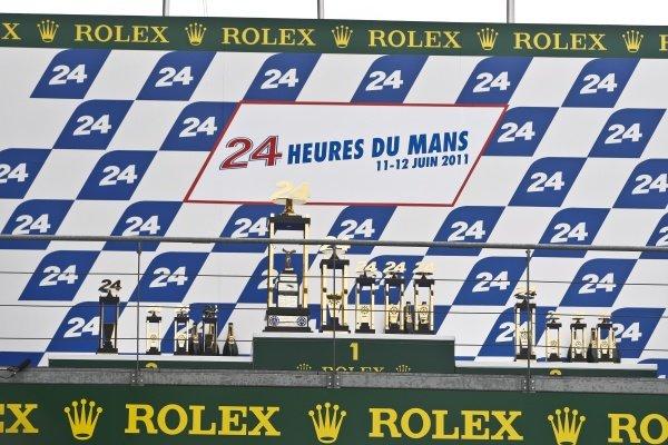 The podium and trophies.Le Mans 24 Hours, La Sarthe, Le Mans, France, 11-12 June 2011.
