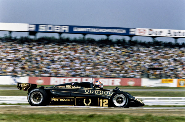 1982 German Grand Prix. Hockenheim, Germany. 6th - 8th August 1982. Nigel Mansell (Lotus 91-Ford), 9th position, action. World Copyright: LAT Photographic.