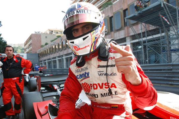 Saturday Race. 23rd May 2009. Pastor Maldonado (VEN, ART Grand Prix) celebrates his victory. World Copyright: Alastair Staley / GP2 Series Media Service.Ref: _H3A5501 jpg
