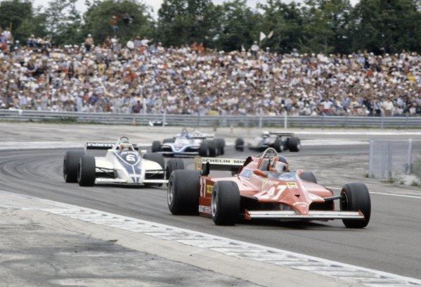 1981 French Grand Prix.Dijon-Prenois, France. 3-5 July 1981.Gilles Villeneuve (Ferrari 126CK) leads Hector Rebaque (Brabham BT49C-Ford Cosworth), Jacques Laffite (Ligier JS17-Matra) and Elio de Angelis (Lotus 87-Ford Cosworth).World Copyright: LAT PhotographicRef: 35mm transparency 81FRA02